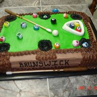 Pool Table! Chocolate Fudge with Chocolate Butter Cream, Pool balls are gumballs with royal icing and pool sticks are dowels with fondant accents.
