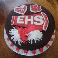 High School Musical   DARK CHOCOLAT FONDANT WITH FONDANT ACCENTS AND BC POM PONS THIS IS FOR SOPHIE HSM 2 CAKE IS FOR SISTER SYDNI