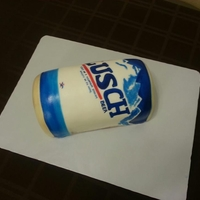 Busch Beer Can Cake Busch beer can cake for a gentlemans birthday with the name 'Lusch'