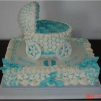 Blue And White Baby Carriage  I was so tired after doing this cake, I guess my eyes werenât really focused. I didnât realize that the pic was blurred...