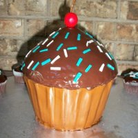 Big Cupcake bottom covered in fondant. top is icing melted n poured on it..cherry and sprinkles are made out of fondant.