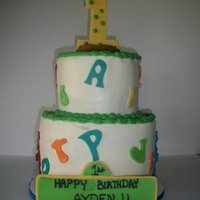 Seasame Street 2 Tier Cake. with abc, 123 and seasame street characters made with fondant.