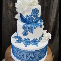 Navy Blue Sugar Lace Wedding Cake