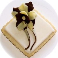3D Flower Cookie 3D fantasy flower cookie made with white and dark chocolate clay