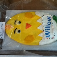 Easter Chick Large, party size shortbread cookie. Decorated with royal icing & rolled buttercream.