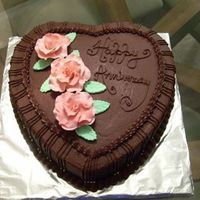 Chocolate Love Anniversary cake with gum paste roses sprinkled with luster dust