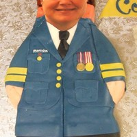 Air Cadet Commanding Officer face is an edible image, the rest of the cake is covered in fondant