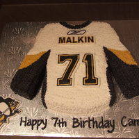Hockey Jersey - Pittsburg Using the Wilton T-Shirt pan with additional cake to make the sleeves longer. Frozen butter cream transfer for the number, name, symbol and...