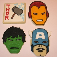 Avengers Cookies Using the Marvel cutters from Williams-Sonoma, I made these little guys for an Etsy order. 60 were on their way in no time!
