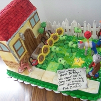 Plants Vs Zombies 12x18 cake zombies and plants are fondant