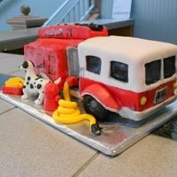 Jer's Fire Truck grooms cake for a firefighter