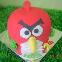 Angry Bird For Faqih   My first 3D Angry bird cake. All made from cake, cover with fondant/ plastic icing.
