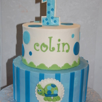 Buttercream With Fondant Accents To Match The Party Decor Buttercream with fondant accents to match the party decor.