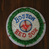 Boston Sox Vanilla with vanilla cake. This was the first time I have tried making a topper like this to be placed on the cake. I like the textured...
