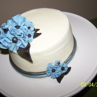Dusty Blue Chocolate mud cake with white chocolate ganache, delicious! TFL