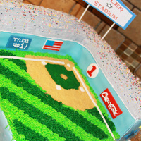 "Tyler Stadium  Made from (3) 8"" square chocolate cakes, trimmed in fondant, rest is Buttercream. Personalized with Tyler's name and his age: #1..."