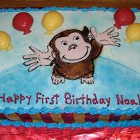 Curious George With Balloons  1/4 sheet iced in buttercream with fondant accents. George is fondant and his features are drawn with edible markers. Cake sides striped in...