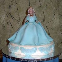 "Sleeping Beauty wonder mold on top of 9"" round. Iced in buttercream with fondant overlays. I rolled fondant logs so that the skirt would drape in..."