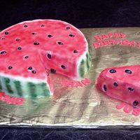 "Watermelon Slice  My take on the Wilton cake. 10"" round, single layer, iced in buttercream and airbrushed. the ""seeds"" are licorice jelly..."