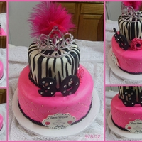 Bling Cake WASC with buttercream dream and fondant accents ans purchasded feathers!
