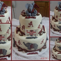 "Alabama Birthday All chocolate cake with buttercream dream and fondant accents! Nade the ""Big Al"" with gumpaste."