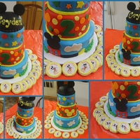 Mickey Mouse WASC with fondant and Mickey ears are rice kripey treat! Cookies are edible image!
