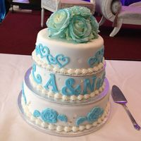 3 Tier Wedding Cake With Initials 3 tier wedding cake with initials