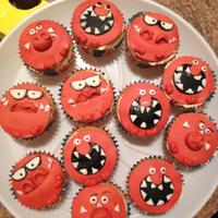 Cupcakes! Red Nose day/ Comic Relief cupcakes for 2013 - T-spex, dynomite and the last one whose name I cant remember!!!