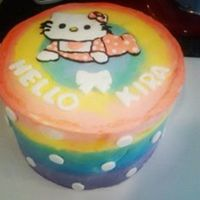 Rainbow Hello Kitty Baby Shower Cake Vanilla cake with Swiss Meringue Buttercream and fondant accents