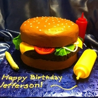 Hamburger Buttercream burger with fondant veggies