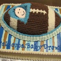 "Football This one asked for a cake with a baby in a football like a ""pea in a pod"". The face is colorflow."