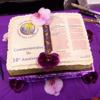 John Chapter 14 (Niv) Created For S. F. Community Fellowship Church 14Th Anniversary I created edible transfers of the church's logo and displayed John Chapter 14 (New International Version) on a half sheet cake sized...
