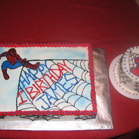Spiderman Cake 1st Birthday cake plus a small cake just for the birthday boy.