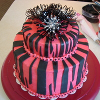 Zebra Cake Buttercream with Fondant Stripes.