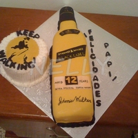 "Johnny Walker Bottle Johnny Walker bottle cake with small round 5"","
