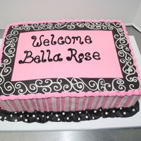 Pink And Black Baby Shower Cake Cake was inspired by the baby's new bedding.