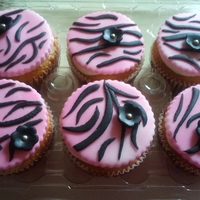 Pink And Black Zebra Cupcakes for my moms birthday.