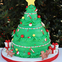 Christmas Tree! Buttercream frosted cake with fondant accents. Thanks for looking!