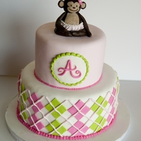 Argyle Monkey Cake For a first birthday party, patterned after plates and napkins the mother had. All fondant decorations.