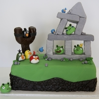 Angry Birds Cake For a boy's 6th birthday. I was told he played with all the pieces for a long time after eating the cake.