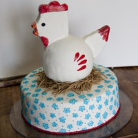 Chicken Cake This was for a first birthday party with a farm theme. The birthday girl loves chickens, so that's what we went for with the cake. I...