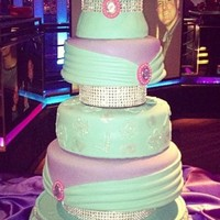 Special Turquoise Purple And Pink Accent Sweet 16 Cake Special turquoise, purple and pink accent sweet 16 cake.