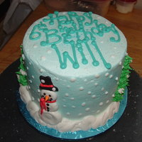 Will's 6Th All buttercream with a winter/snowman theme.