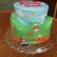Super Mario Land I made this for my son's 9th birthday. It is my first attempt at a scalloped top cake. Not perfect, but when he got home from school...