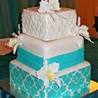 Teal Wedding Cake Helped my daughter make this for a college friend. The stenciling was very tricky and nerve wracking. Cakes were vanilla with dulce de...