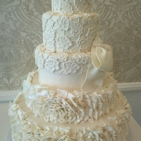 "Ruffled Wedding Cake Vera Wangs ""Lark"" bridal gown inspired wedding cake."
