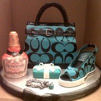 """all Her Favorite Things"" Cake was made for someone who wanted all her favorite things. This was actually a center piece for a table. Purse, Shoe, Tiffany box, and..."