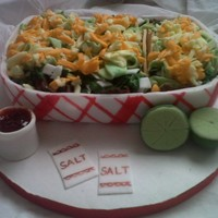 Carne Asada Tacos With The Works I tried to come up with a good cake idea for my daughter. Then i remembered she loves tacos so, I decided to make her a taco cake w/...