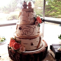 Birch-Look Round Wedding Cake Birch-look wedding cake. [Incorporated different aspects from the many tree-like cakes found on this site--as well as general internet...