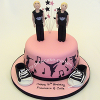 Hip-Hop/street Dance I was asked to make a pink cake with hip-hop/street dance silhouettes, musical notes, a pair of shoes similar to Converse boots and two...